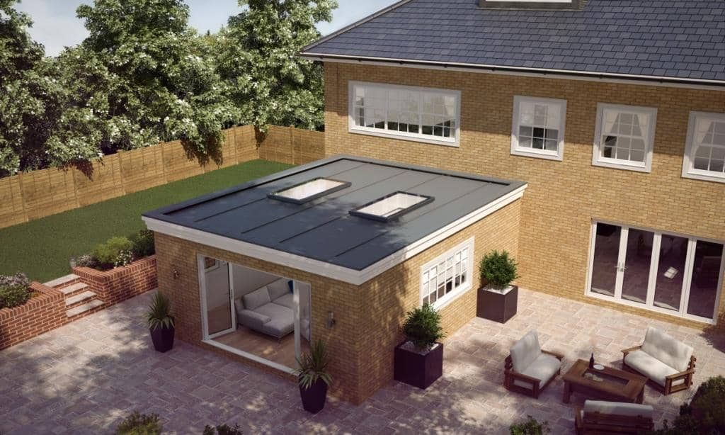 Atlas flat glass on extension flat roof